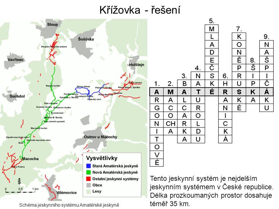Křížovka - řešení Schéma jeskynního systému Amatérské jeskyně Tento jeskynní systém je nejdelším jeskynním systémem v České republice. Délka prozkouma