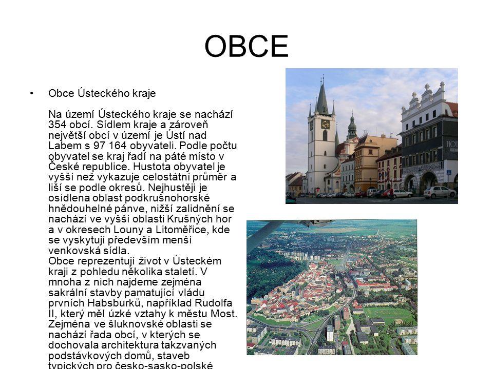 OBCE Obce Ústeckého kraje Na území Ústeckého kraje se nachází 354 obcí. Sídlem kraje a zároveň největší obcí v území je Ústí nad Labem s 97 164 obyvat