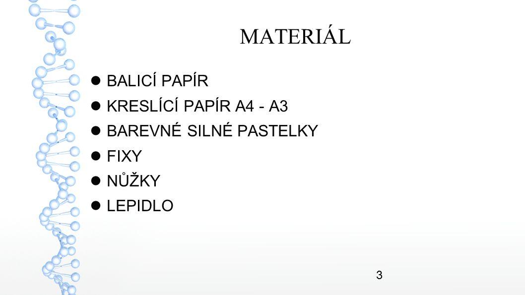 3 MATERIÁL BALICÍ PAPÍR KRESLÍCÍ PAPÍR A4 - A3 BAREVNÉ SILNÉ PASTELKY FIXY NŮŽKY LEPIDLO