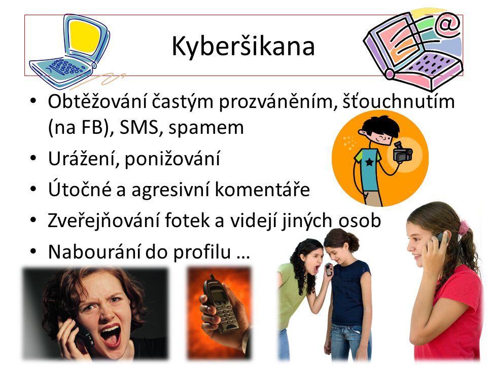 Kyberšikana Obtěžování častým prozváněním, šťouchnutím (na FB), SMS, spamem Urážení, ponižování Útočné a agresivní komentáře Zveřejňování fotek a vide