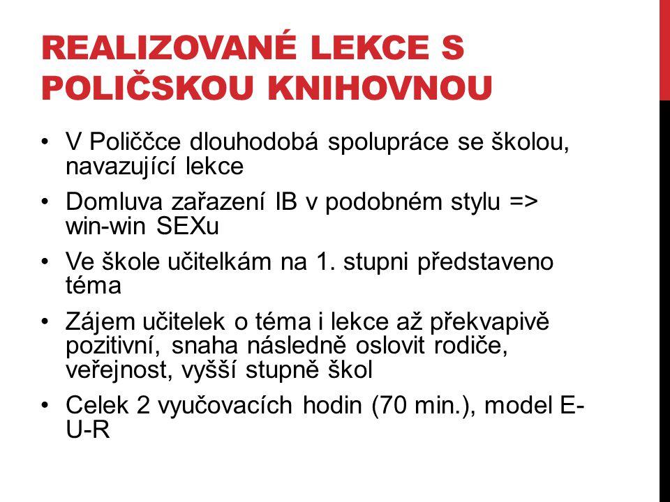 REALIZOVANÉ LEKCE S POLIČSKOU KNIHOVNOU V Poliččce dlouhodobá spolupráce se školou, navazující lekce Domluva zařazení IB v podobném stylu => win-win S