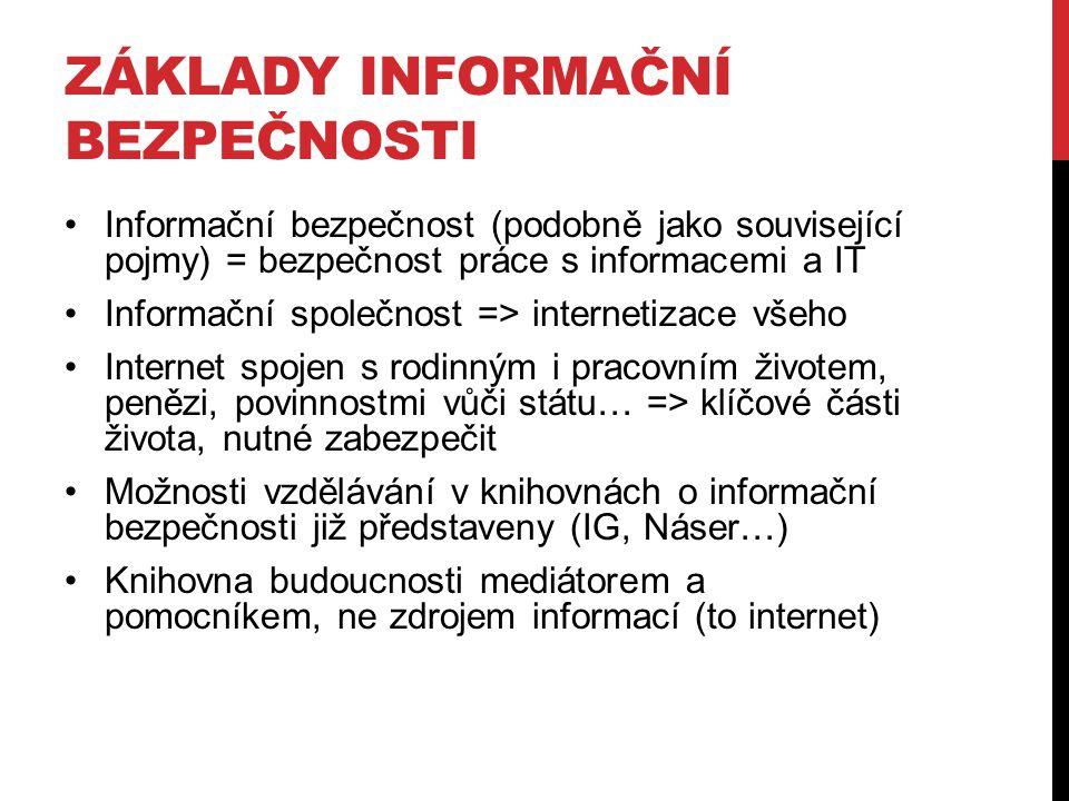 ZÁKLADY INFORMAČNÍ BEZPEČNOSTI Informační bezpečnost (podobně jako související pojmy) = bezpečnost práce s informacemi a IT Informační společnost => i