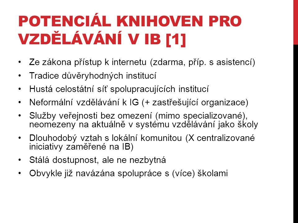 POTENCIÁL KNIHOVEN PRO VZDĚLÁVÁNÍ V IB [1] Ze zákona přístup k internetu (zdarma, příp. s asistencí) Tradice důvěryhodných institucí Hustá celostátní