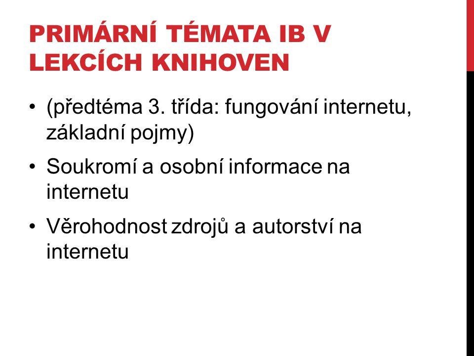 PRIMÁRNÍ TÉMATA IB V LEKCÍCH KNIHOVEN (předtéma 3. třída: fungování internetu, základní pojmy) Soukromí a osobní informace na internetu Věrohodnost zd