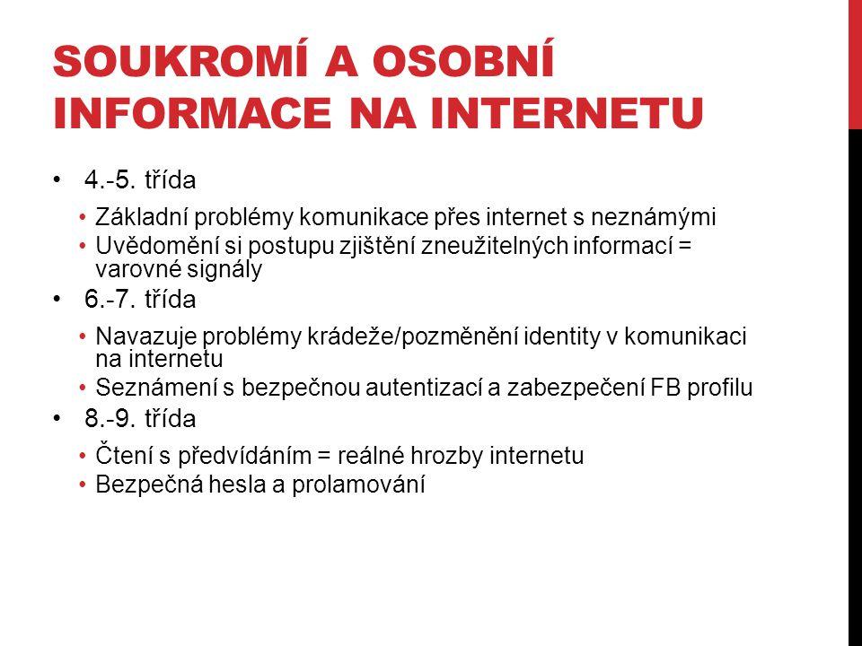 SOUKROMÍ A OSOBNÍ INFORMACE NA INTERNETU 4.-5. třída Základní problémy komunikace přes internet s neznámými Uvědomění si postupu zjištění zneužitelnýc