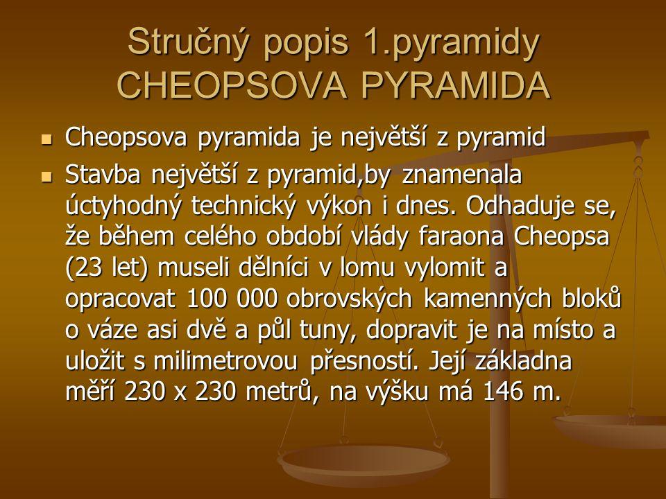 Stručný popis 1.pyramidy CHEOPSOVA PYRAMIDA Cheopsova pyramida je největší z pyramid Cheopsova pyramida je největší z pyramid Stavba největší z pyrami