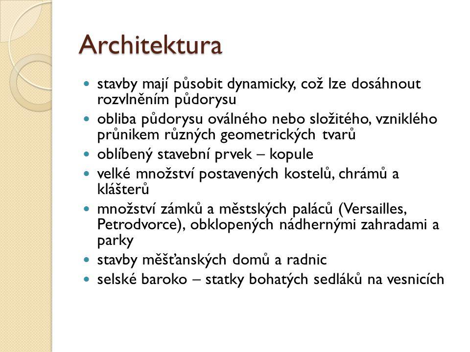Architektura stavby mají působit dynamicky, což lze dosáhnout rozvlněním půdorysu obliba půdorysu oválného nebo složitého, vzniklého průnikem různých