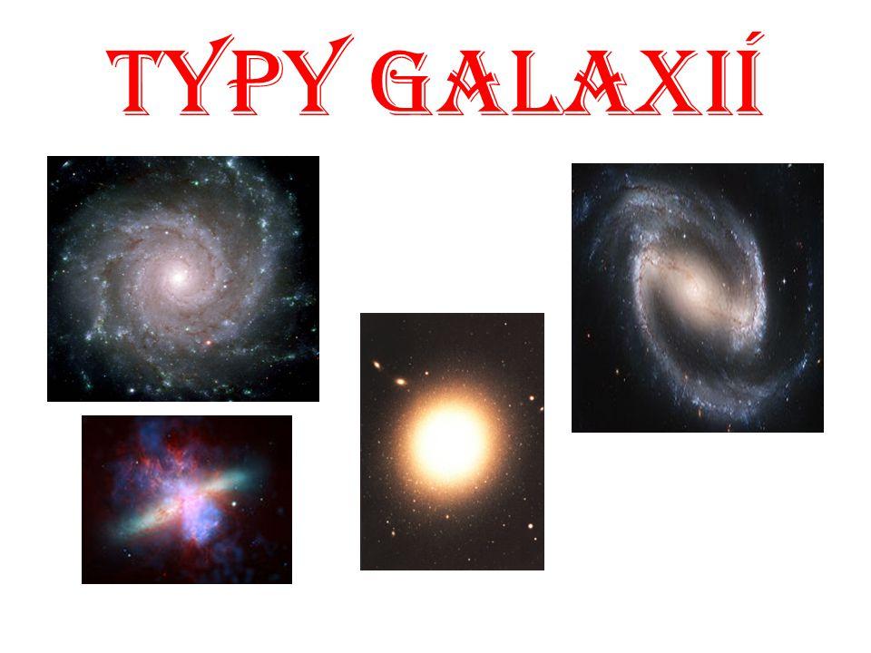 Typy Galaxií Hubbleova klasifikace galaxií rozděluje galaxie podle jejich tvaru. Zavedl jí v roce 1925 americký astronom Edwin Hubble. Graficky je tat