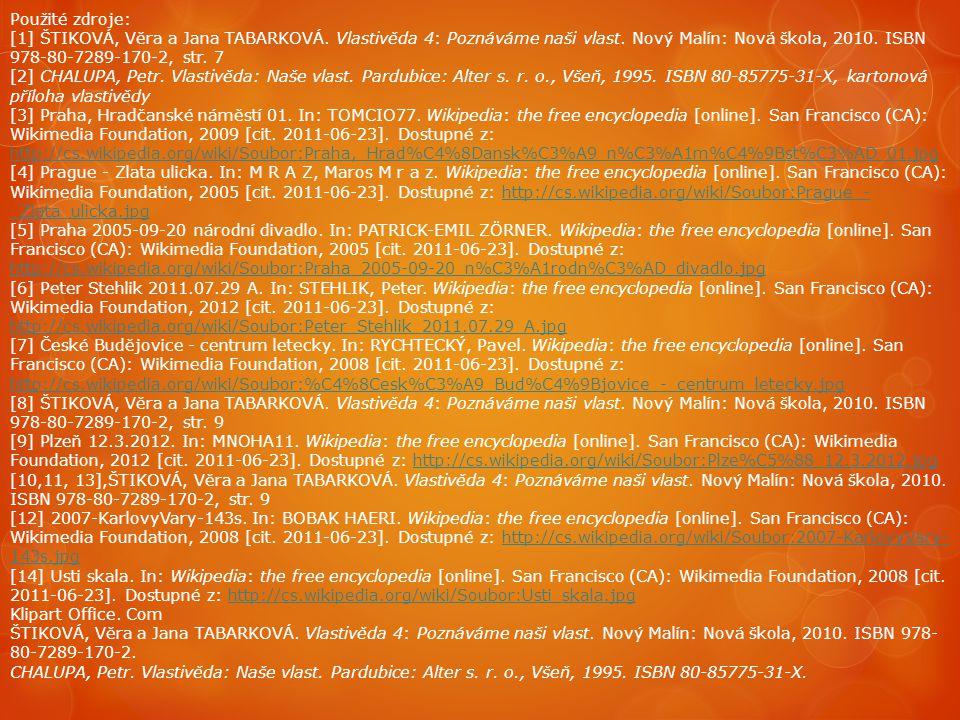 Použité zdroje: [1] ŠTIKOVÁ, Věra a Jana TABARKOVÁ. Vlastivěda 4: Poznáváme naši vlast. Nový Malín: Nová škola, 2010. ISBN 978-80-7289-170-2, str. 7 [