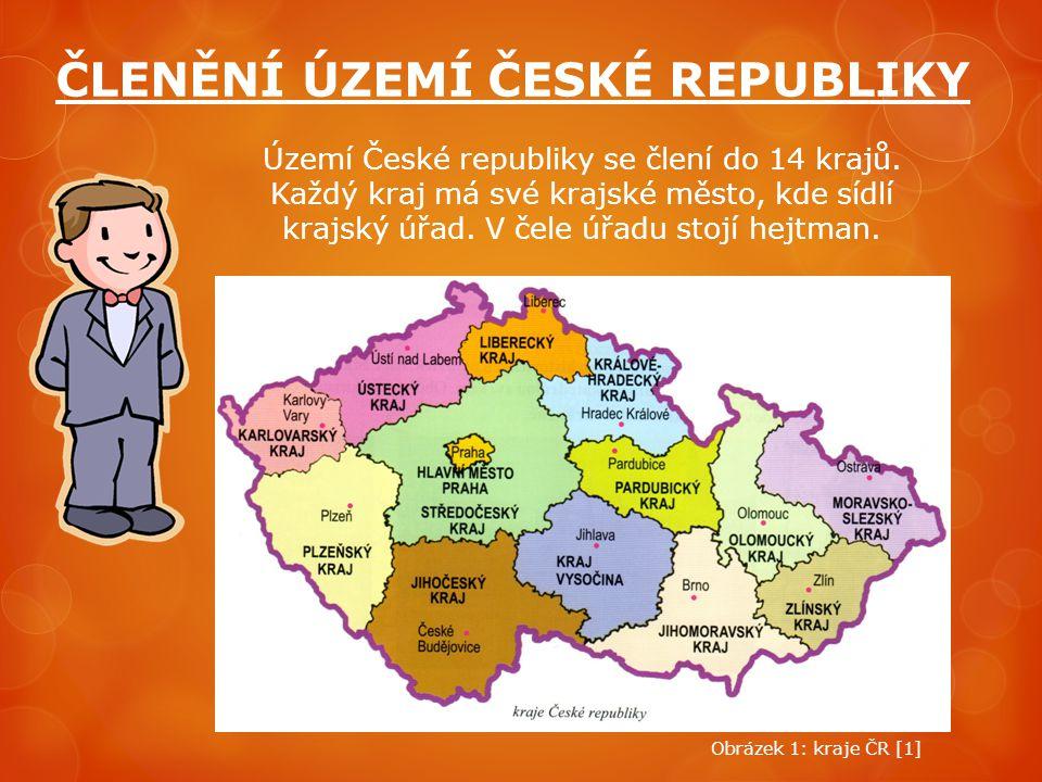 ČLENĚNÍ ÚZEMÍ ČESKÉ REPUBLIKY Území České republiky se člení do 14 krajů. Každý kraj má své krajské město, kde sídlí krajský úřad. V čele úřadu stojí