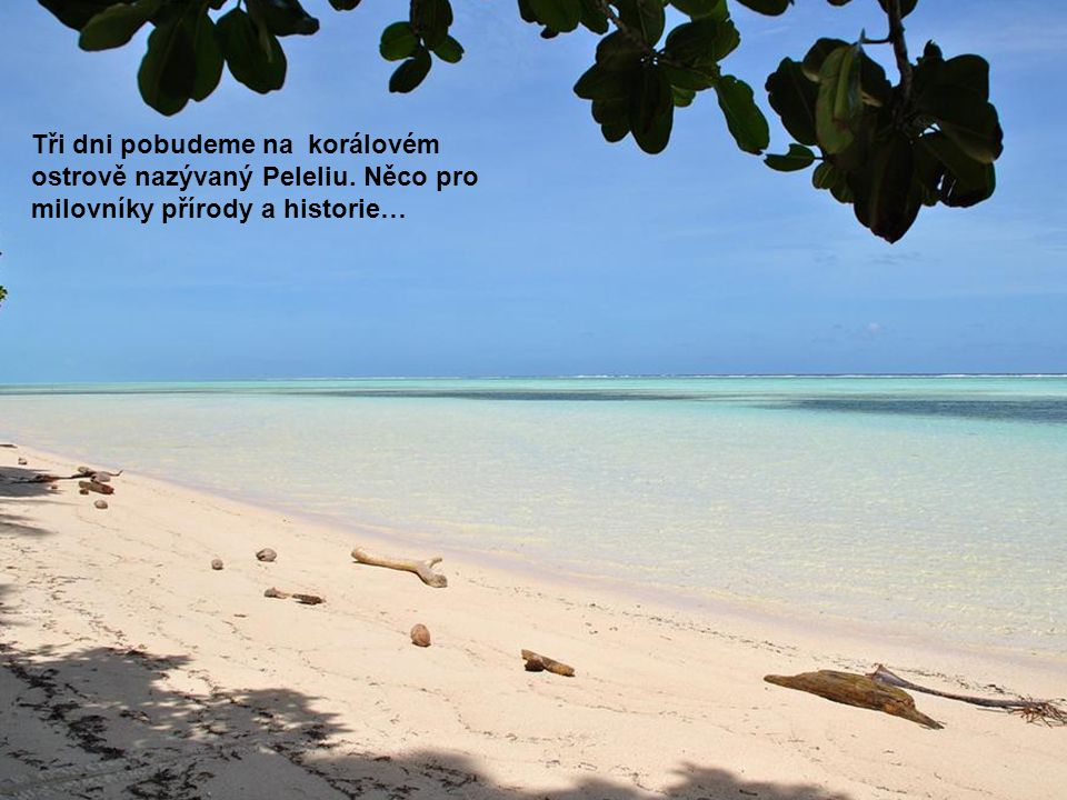 Tři dni pobudeme na korálovém ostrově nazývaný Peleliu. Něco pro milovníky přírody a historie…