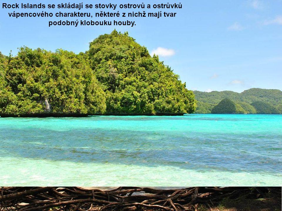 Rock Islands se skládají se stovky ostrovů a ostrůvků vápencového charakteru, některé z nichž mají tvar podobný klobouku houby.