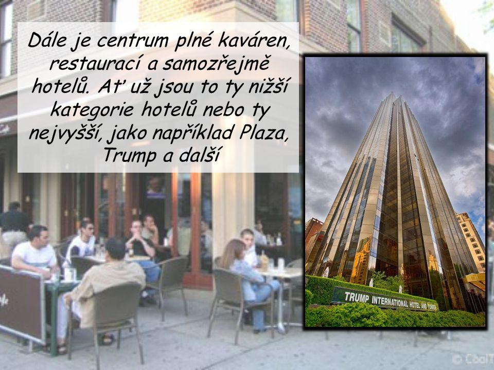 Dále je centrum plné kaváren, restaurací a samozřejmě hotelů. Ať už jsou to ty nižší kategorie hotelů nebo ty nejvyšší, jako například Plaza, Trump a