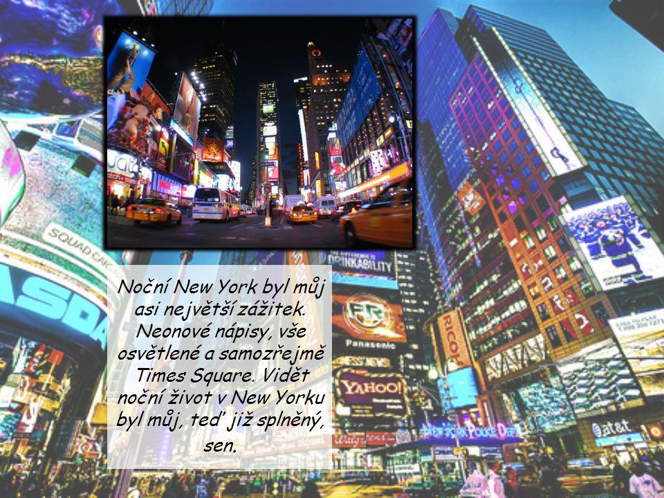 Noční New York byl můj asi největší zážitek. Neonové nápisy, vše osvětlené a samozřejmě Times Square. Vidět noční život v New Yorku byl můj, teď již s