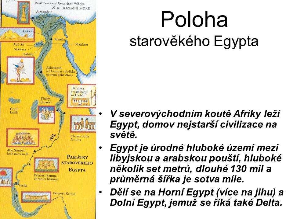 Poloha starověkého Egypta V severovýchodním koutě Afriky leží Egypt, domov nejstarší civilizace na světě. Egypt je úrodné hluboké území mezi libyjskou