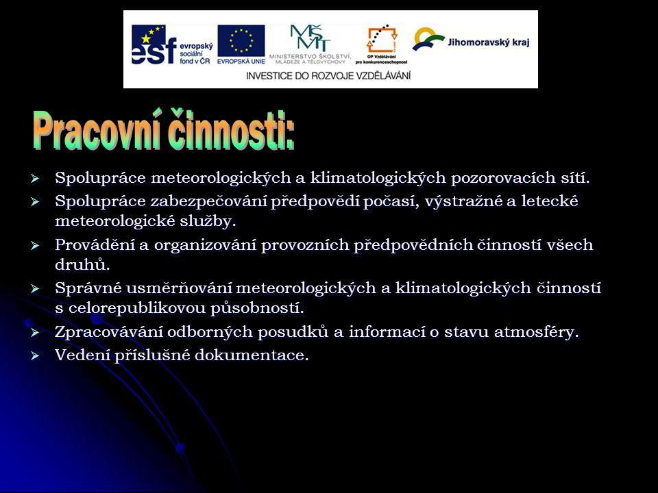 Spolupráce meteorologických a klimatologických pozorovacích sítí.