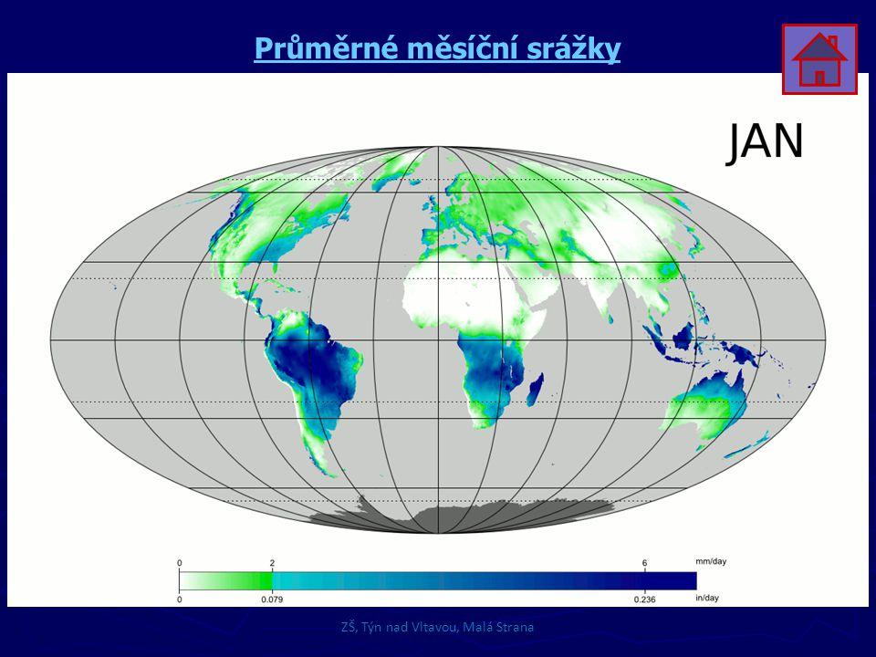 ZŠ, Týn nad Vltavou, Malá Strana Průměrné měsíční srážky