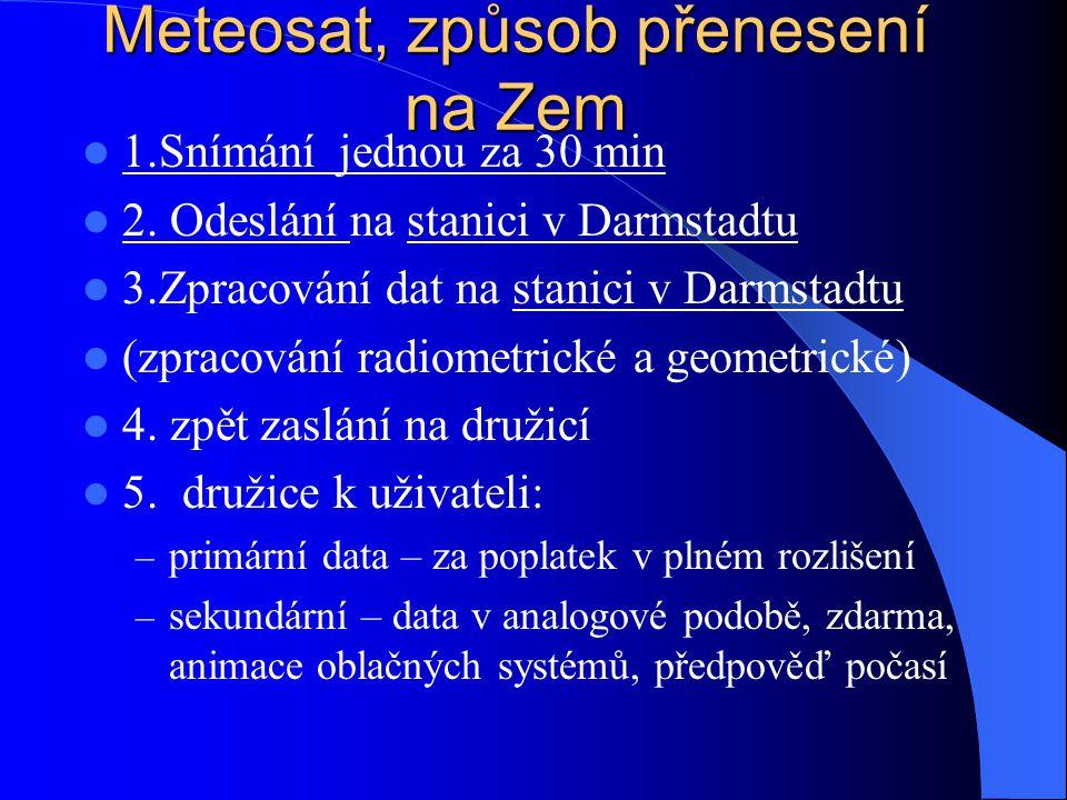 Meteosat, způsob přenesení na Zem 1.Snímání jednou za 30 min 2. Odeslání na stanici v Darmstadtu 3.Zpracování dat na stanici v Darmstadtu (zpracování