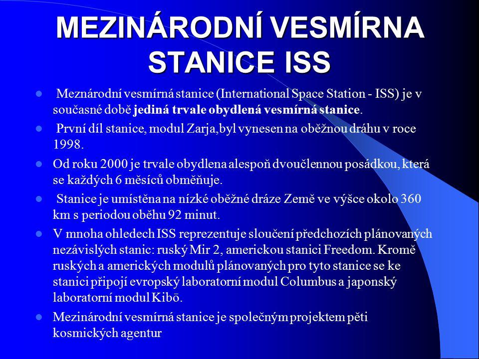 MEZINÁRODNÍ VESMÍRNA STANICE ISS Meznárodní vesmírná stanice (International Space Station - ISS) je v současné době jediná trvale obydlená vesmírná st