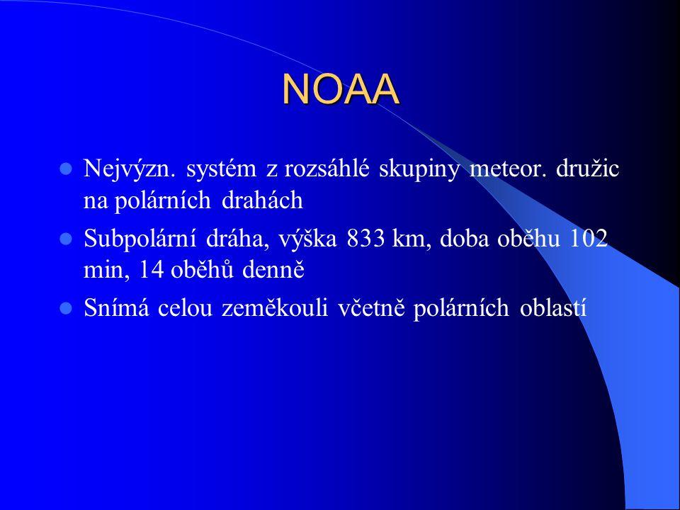NOAA Nejvýzn. systém z rozsáhlé skupiny meteor. družic na polárních drahách Subpolární dráha, výška 833 km, doba oběhu 102 min, 14 oběhů denně Snímá c