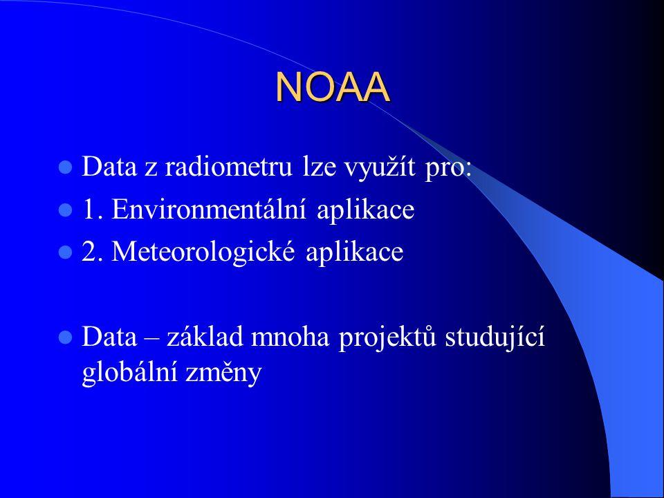 NOAA Data z radiometru lze využít pro: 1. Environmentální aplikace 2. Meteorologické aplikace Data – základ mnoha projektů studující globální změny