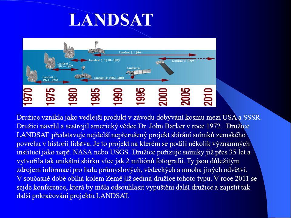 LANDSAT Družice vznikla jako vedlejší produkt v závodu dobývání kosmu mezi USA a SSSR. Družici navrhl a sestrojil americký vědec Dr. John Barker v roc