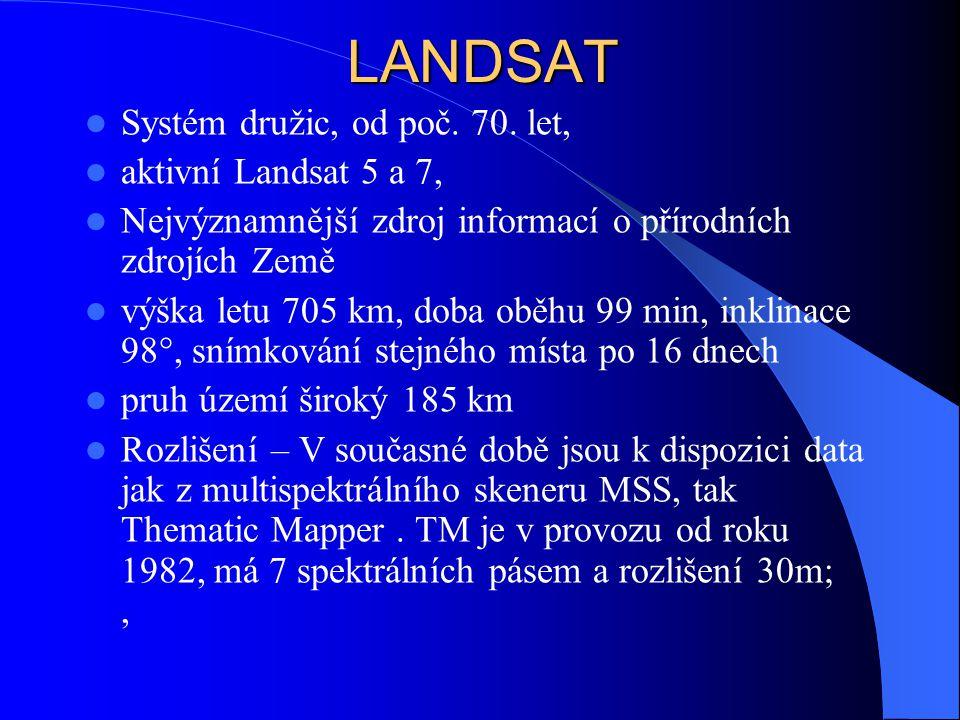 LANDSAT Systém družic, od poč. 70. let, aktivní Landsat 5 a 7, Nejvýznamnější zdroj informací o přírodních zdrojích Země výška letu 705 km, doba oběhu