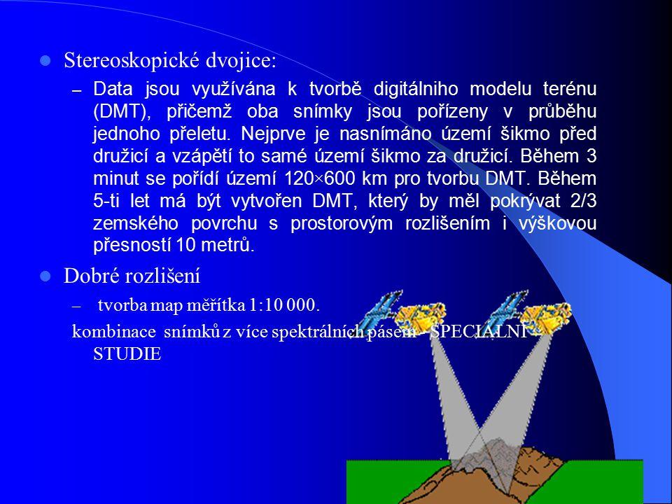 Stereoskopické dvojice: – Data jsou využívána k tvorbě digitálniho modelu terénu (DMT), přičemž oba snímky jsou pořízeny v průběhu jednoho přeletu. Ne