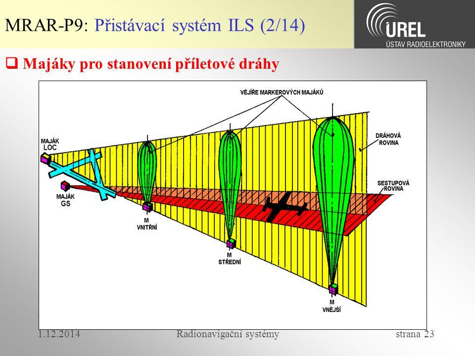 1.12.2014Radionavigační systémy strana 23  Majáky pro stanovení příletové dráhy MRAR-P9: Přistávací systém ILS (2/14)