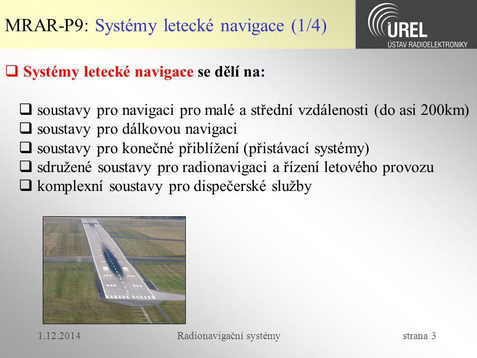 1.12.2014Radionavigační systémy strana 4 MRAR-P9: Systémy letecké navigace (2/4)  Rozdělení vzdušného prostoru v ČR  Vzdušný prostor ČR je rozdělený horizontálními hranicemi do tříd C, D, E a G, pro které jsou stanovena pravidla o  typech letů, které lze v daném prostoru provádět (IFR x VFR)  poskytovaných službách ŘLP  minimálních meteorologických podmínkách pro lety VFR  požadavcích na radiové spojení  povinnosti podání letového plánu  Okolo velkých letišť jsou definovány oblasti řízeného okrsku CTR (Control Zone) a koncové řízené oblasti TMA (Terminal Control Area)