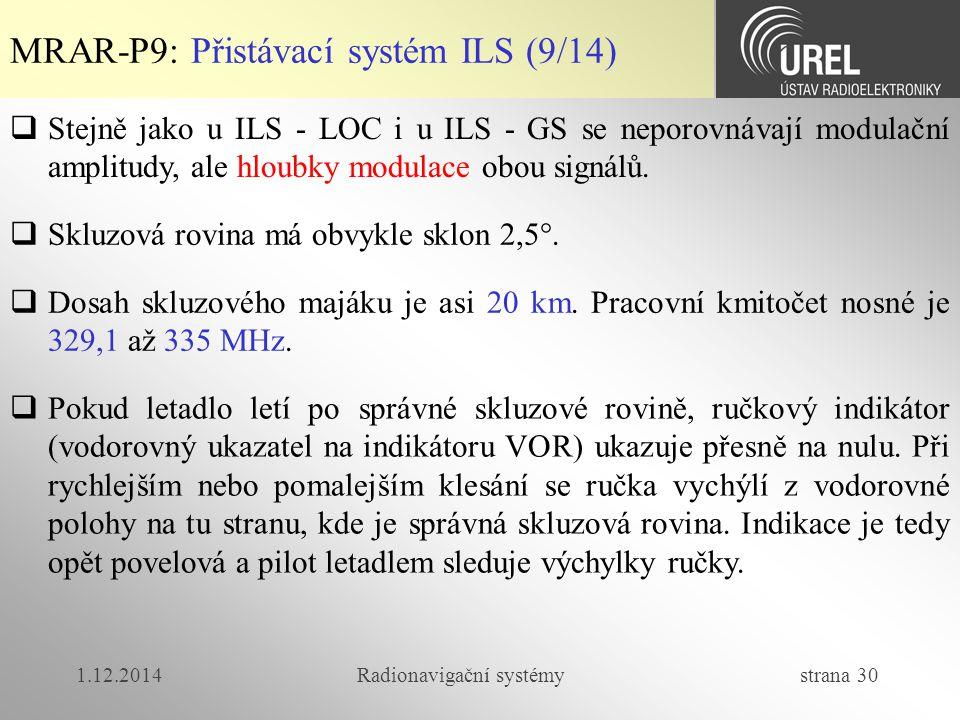 1.12.2014Radionavigační systémy strana 30  Stejně jako u ILS - LOC i u ILS - GS se neporovnávají modulační amplitudy, ale hloubky modulace obou signálů.