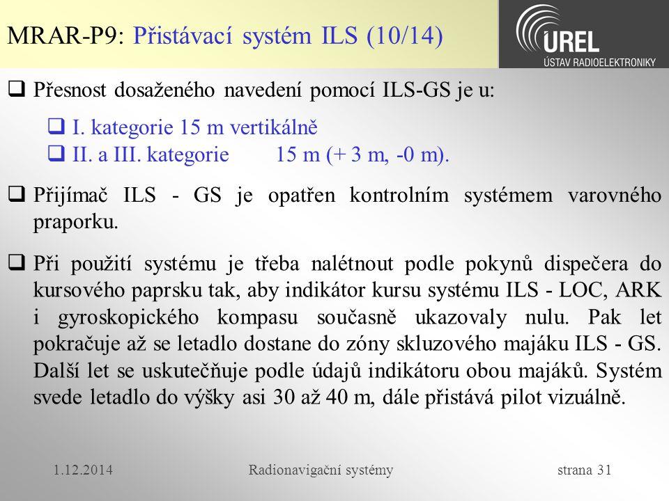 1.12.2014Radionavigační systémy strana 31  Přesnost dosaženého navedení pomocí ILS-GS je u:  I.