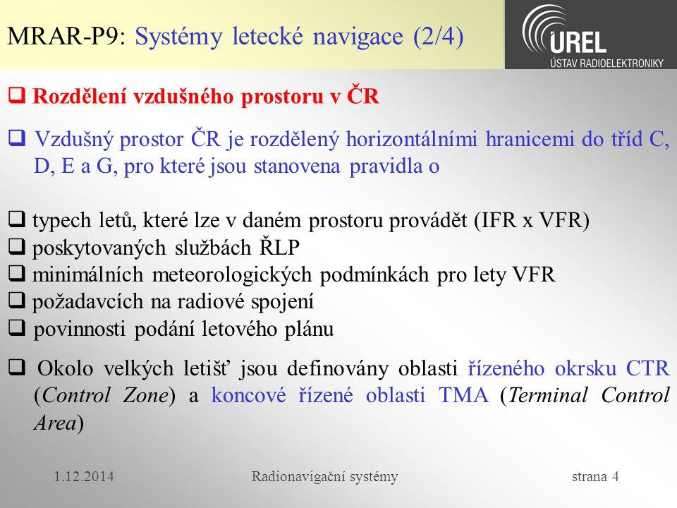 1.12.2014Radionavigační systémy strana 5 MRAR-P9: Systémy letecké navigace (3/4)  Provoz v CTR řídí věž (TWR), v TMA přibližovací služba (APP), mimo TMA oblastní služba ŘLP  Mimo prostory vymezující okrsky letišť a koncové oblasti jsou na území ČR vyhlášeny oblasti, do nichž je vstup buď stále, nebo po aktivaci omezen.