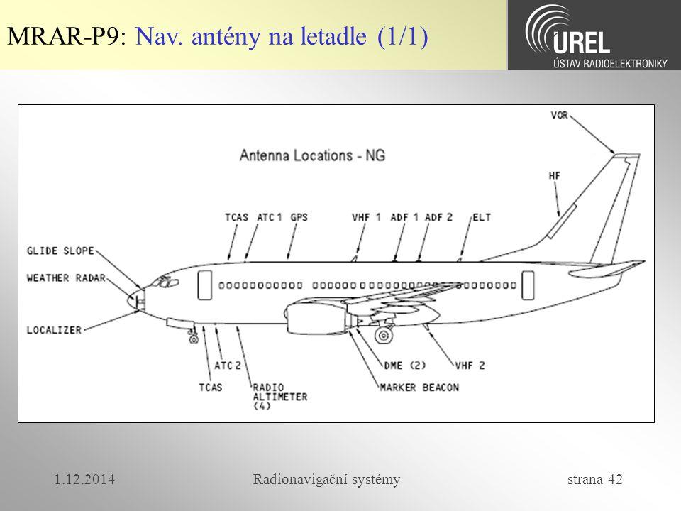 1.12.2014Radionavigační systémy strana 42 MRAR-P9: Nav. antény na letadle (1/1)