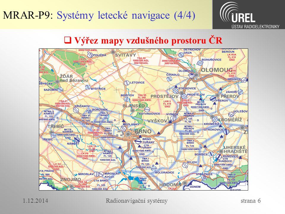 1.12.2014Radionavigační systémy strana 6 MRAR-P9: Systémy letecké navigace (4/4)  Výřez mapy vzdušného prostoru ČR