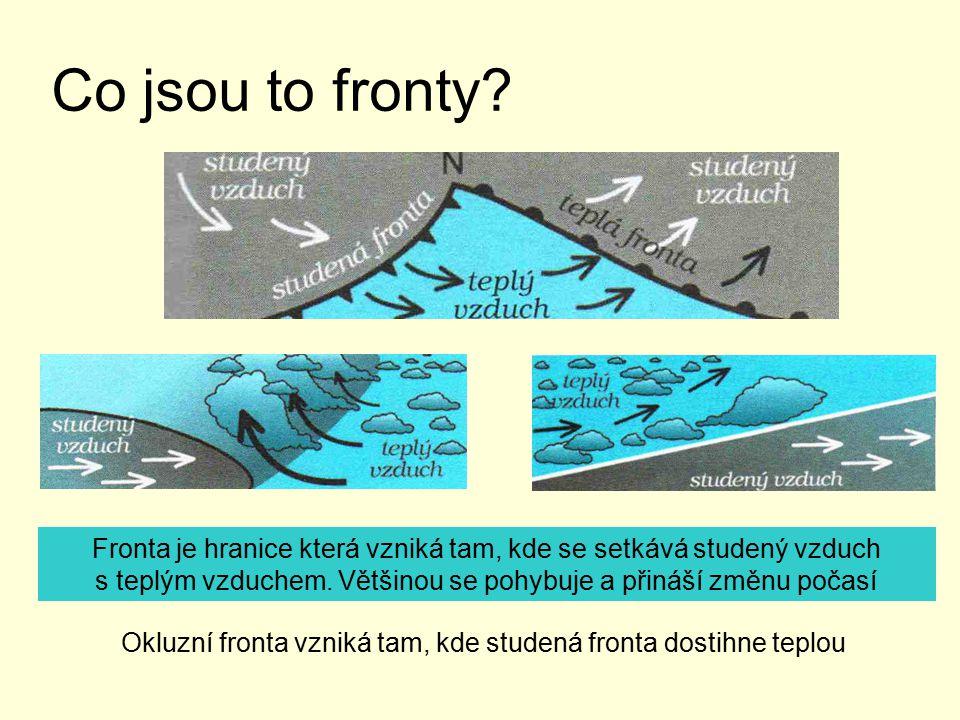 Co jsou to fronty? Fronta je hranice která vzniká tam, kde se setkává studený vzduch s teplým vzduchem. Většinou se pohybuje a přináší změnu počasí Ok