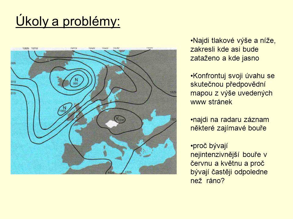Úkoly a problémy: Najdi tlakové výše a níže, zakresli kde asi bude zataženo a kde jasno Konfrontuj svoji úvahu se skutečnou předpovědní mapou z výše u