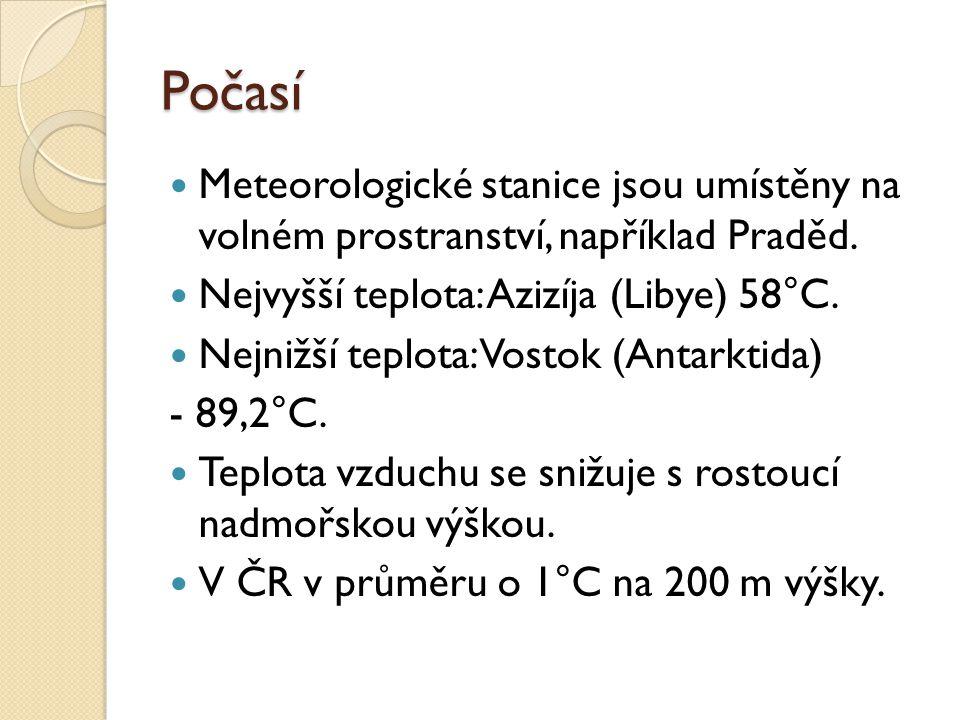 Počasí Meteorologické stanice jsou umístěny na volném prostranství, například Praděd. Nejvyšší teplota: Azizíja (Libye) 58°C. Nejnižší teplota: Vostok