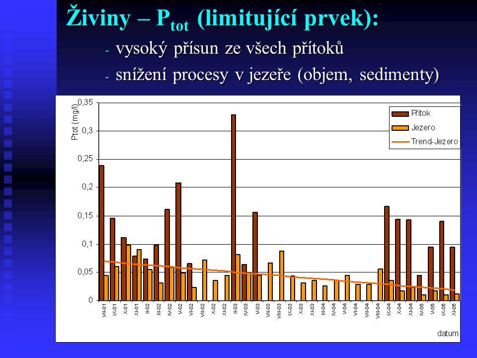 Živiny – P tot (limitující prvek): - vysoký přísun ze všech přítoků - snížení procesy v jezeře (objem, sedimenty)