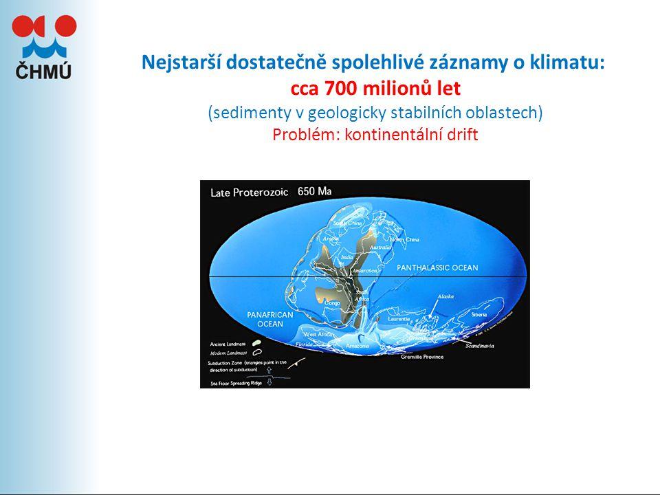 Nejstarší dostatečně spolehlivé záznamy o klimatu: cca 700 milionů let (sedimenty v geologicky stabilních oblastech) Problém: kontinentální drift