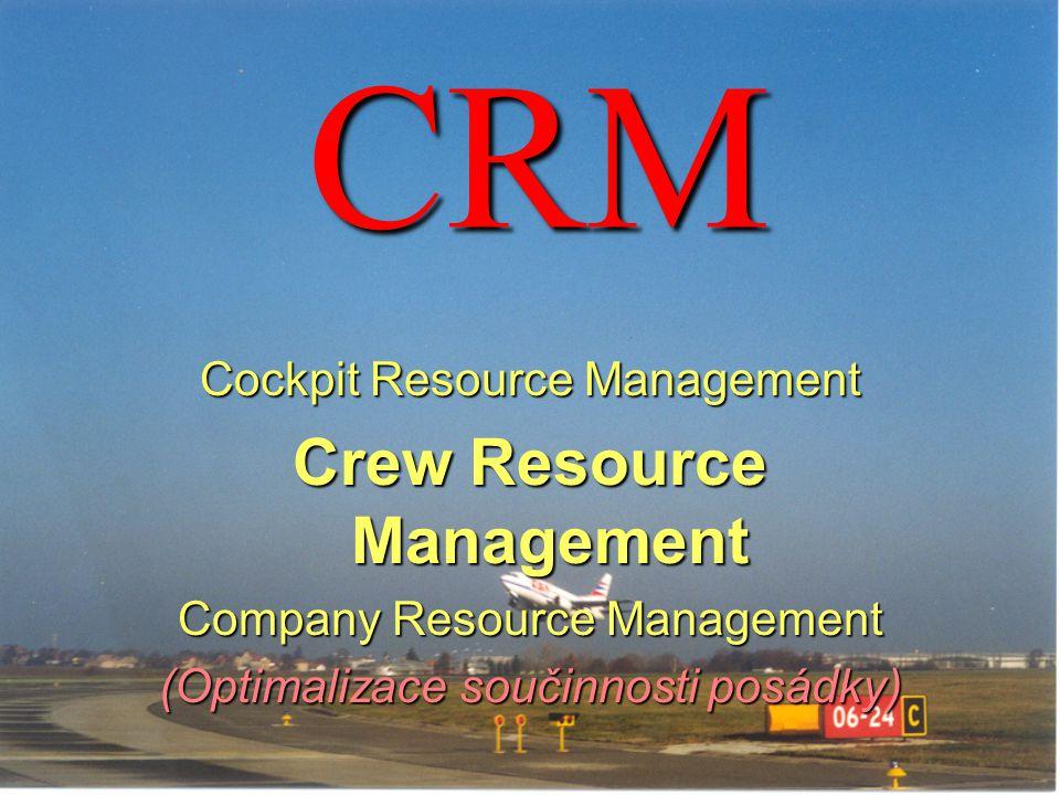 CRM Cockpit Resource Management Crew Resource Management Company Resource Management (Optimalizace součinnosti posádky)