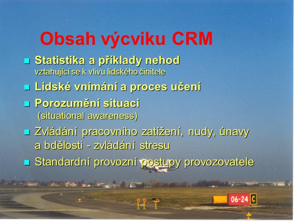 Obsah výcviku CRM Statistika a příklady nehod vztahující se k vlivu lidského činitele Statistika a příklady nehod vztahující se k vlivu lidského činit