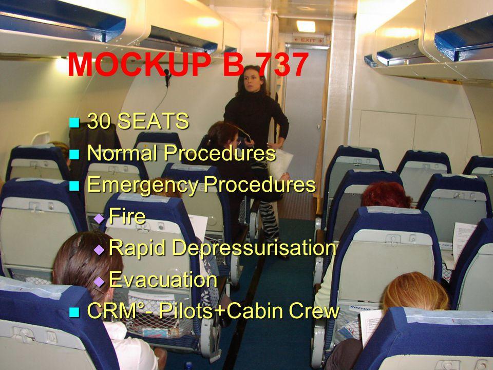 MOCKUP B 737 30 SEATS 30 SEATS Normal Procedures Normal Procedures Emergency Procedures Emergency Procedures  Fire  Rapid Depressurisation  Evacuat