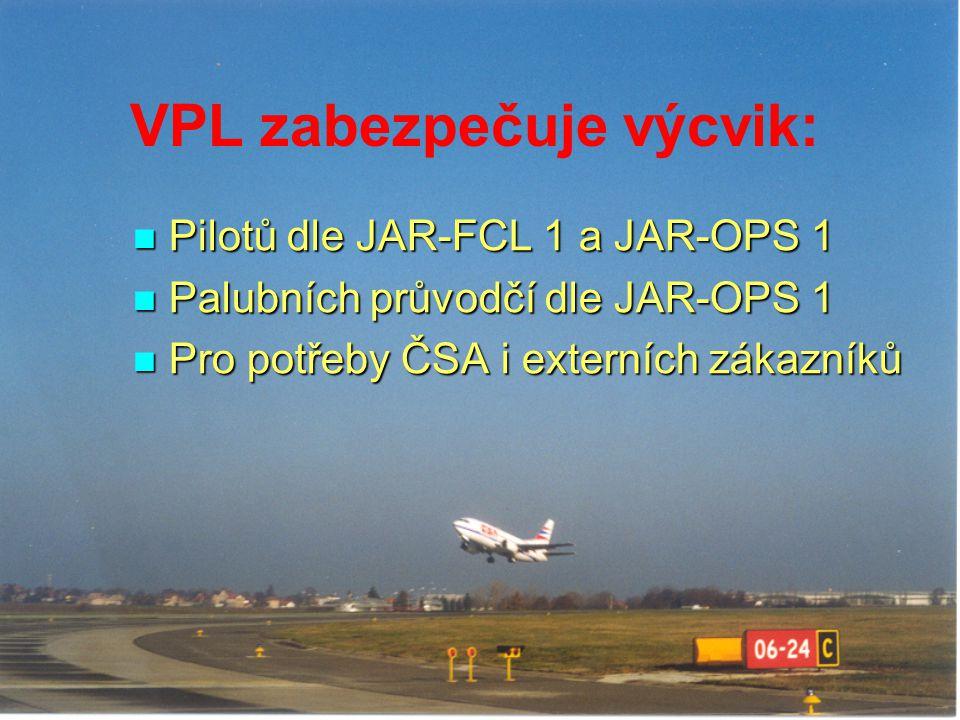 VPL zabezpečuje výcvik: Pilotů dle JAR-FCL 1 a JAR-OPS 1 Pilotů dle JAR-FCL 1 a JAR-OPS 1 Palubních průvodčí dle JAR-OPS 1 Palubních průvodčí dle JAR-