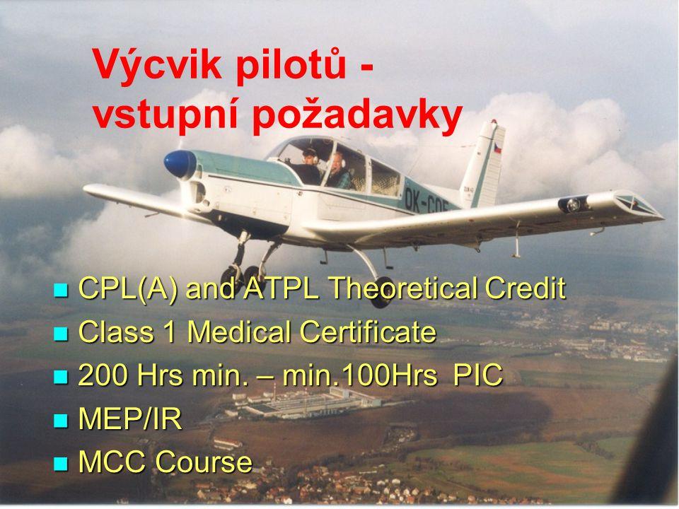 Výcvik pilotů - vstupní požadavky CPL(A) and ATPL Theoretical Credit CPL(A) and ATPL Theoretical Credit Class 1 Medical Certificate Class 1 Medical Ce