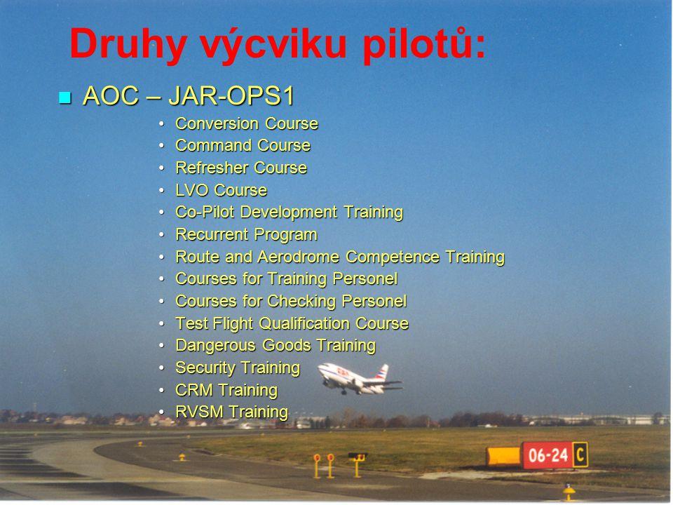 Druhy výcviku pilotů: AOC – JAR-OPS1 AOC – JAR-OPS1 Conversion CourseConversion Course Command CourseCommand Course Refresher CourseRefresher Course L