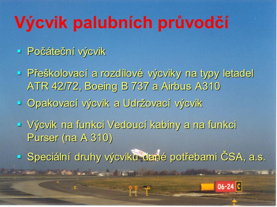 Výcvik palubních průvodčí  Počáteční výcvik  Přeškolovací a rozdílové výcviky na typy letadel ATR 42/72, Boeing B 737 a Airbus A310  Opakovací výcv
