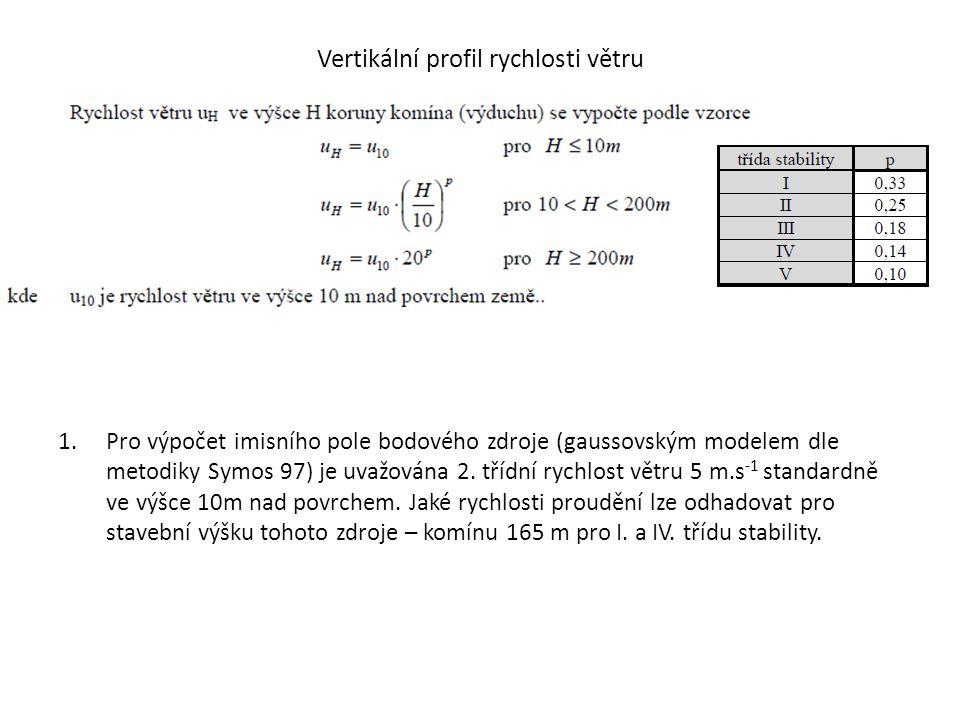 Vertikální profil rychlosti větru 1.Pro výpočet imisního pole bodového zdroje (gaussovským modelem dle metodiky Symos 97) je uvažována 2. třídní rychl