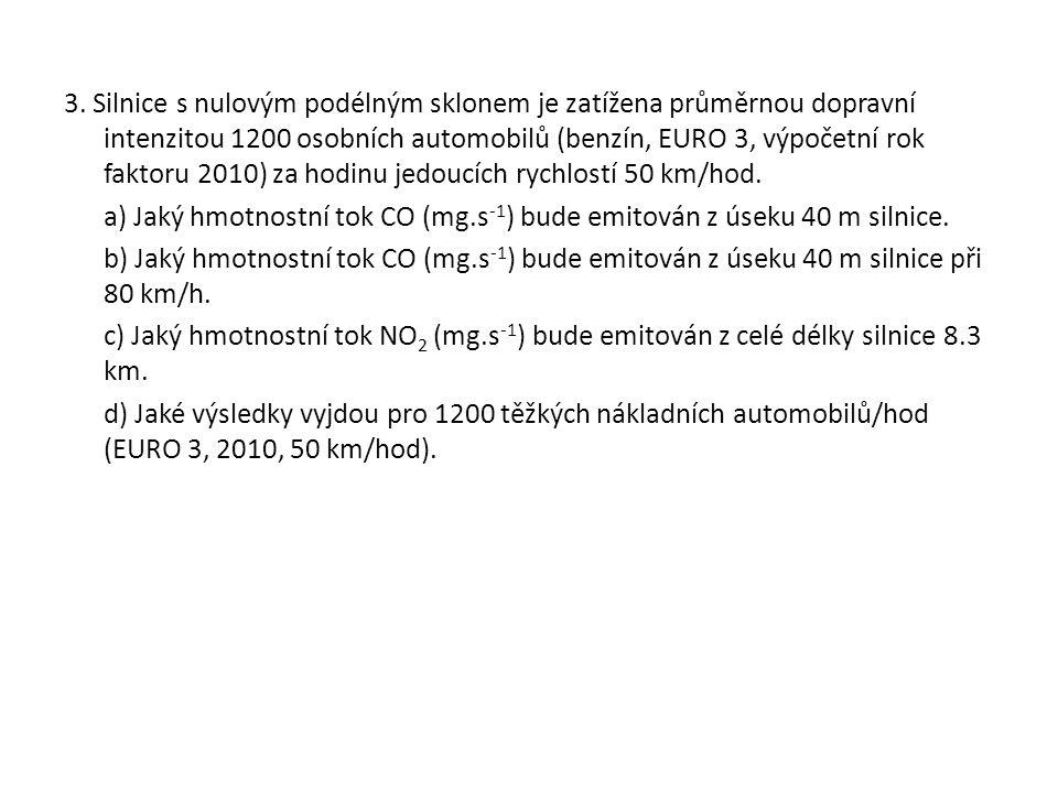 3. Silnice s nulovým podélným sklonem je zatížena průměrnou dopravní intenzitou 1200 osobních automobilů (benzín, EURO 3, výpočetní rok faktoru 2010)