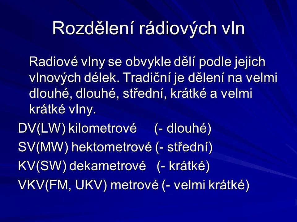 Rozdělení rádiových vln Radiové vlny se obvykle dělí podle jejich vlnových délek. Tradiční je dělení na velmi dlouhé, dlouhé, střední, krátké a velmi